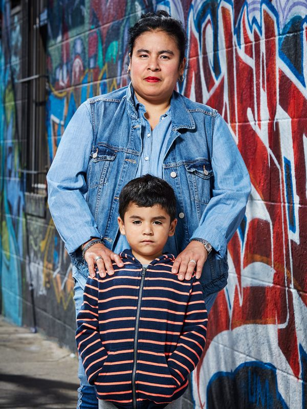Fabiola and her son Steven photographed in the Excelsior for UCSF.