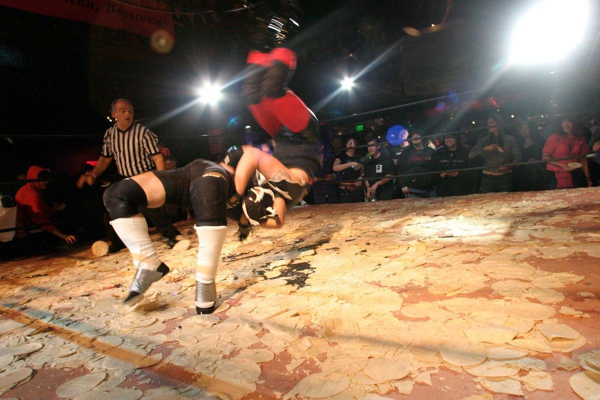 Incredibly Strange Wrestling at the DNA Lounge in San Francisco, California. October 2004.