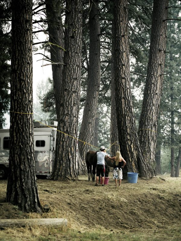 Teens with their horse at the rodeo campgrounds in Taylorsville, California.