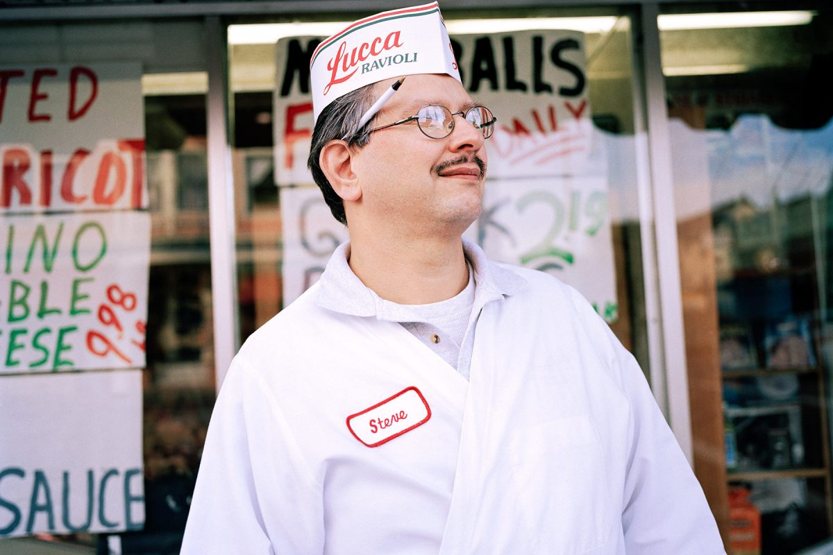 Steve, Manager of Lucca Deli Ravioli Company, which has been open since 1919.