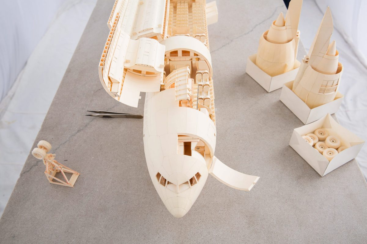 San Francisco resident, Luca Iaconi-Stewart, set out to build a paper airplane out of manila folders over a period of 6 years. Every last detail is accurately replicated on a scale of 1:60.