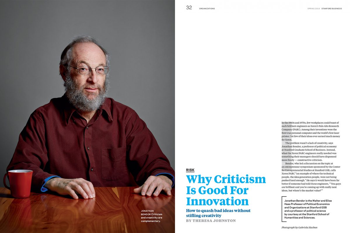 Jonathan Bendor for Stanford Business Magazine.