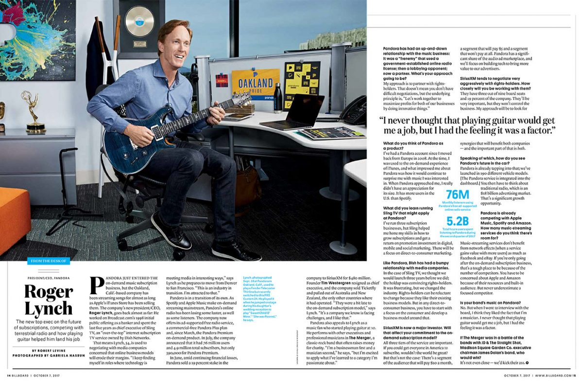 Pandora CEO, Robert Lynch for Billboard mag.