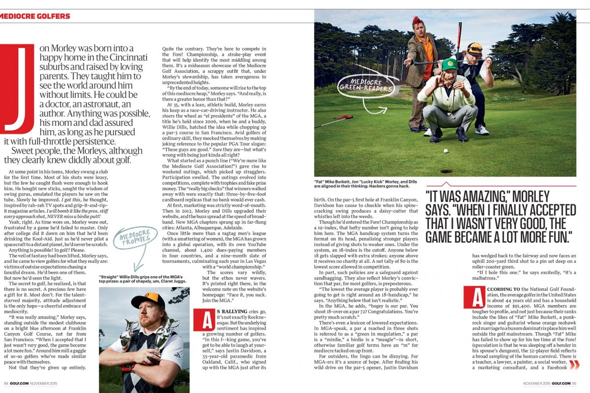 Mediocre Golf Association for Golf Magazine.