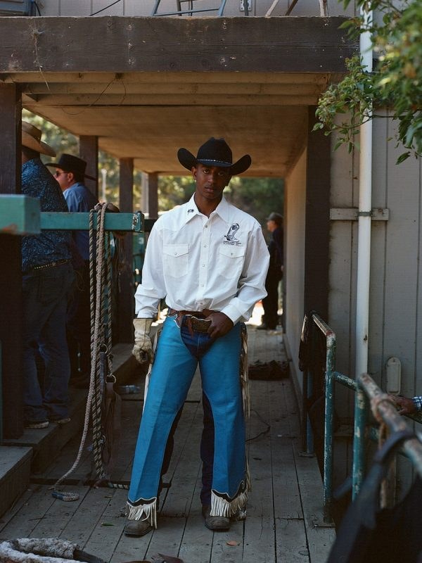 Contestant Jamir Graham nervously awaits his turn to ride at the 32nd Bill Pickett Rodeo in Oakland, California.