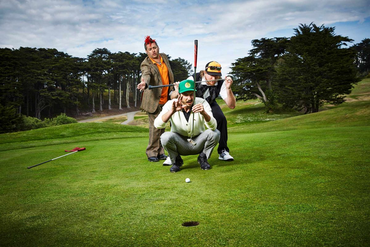 Fat Mike Burkett, Jon Lucky Kick Morley, and Straight Willie Dills play golf at Lincoln Park in San Francisco.