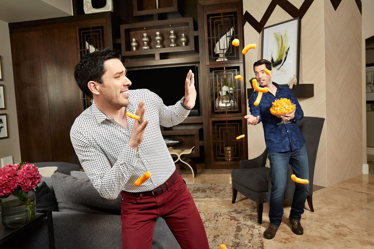 Property Brothers, Drew and Jonathan Scott, in their Las Vegas home. Shot for People magazine.