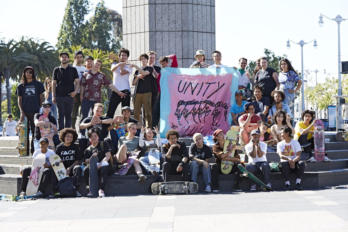 Unity Skateboard meetup in San Francisco, California in front of the Ferry Building. Unity is a queer skateboarding collective in California, designed as a haven from the sometimes-hostile environment the sport has fostered.