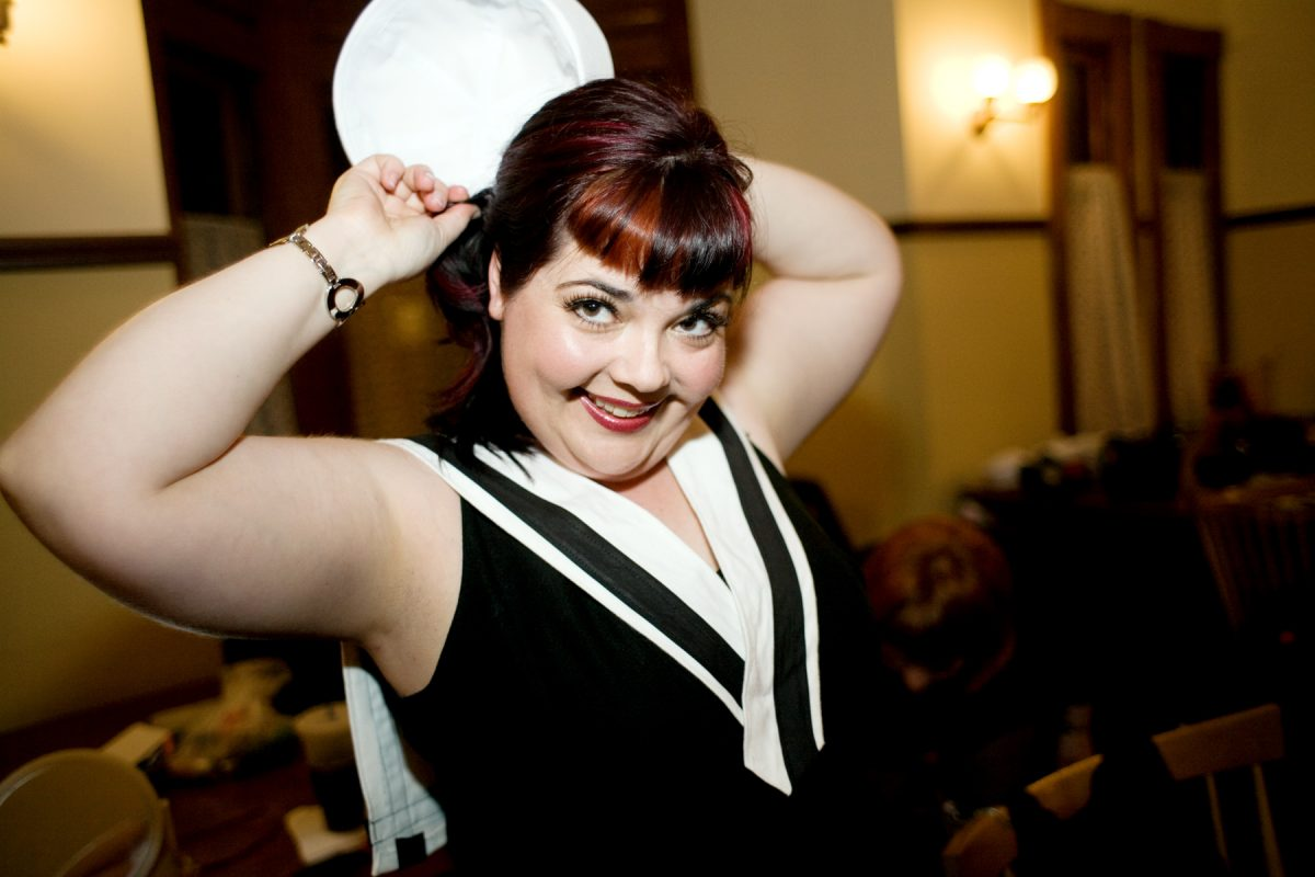 """Backstage at a performance of """"All that Flab."""" Matilda St. John, Artistic Director of West Coast Phat Fly Girls."""