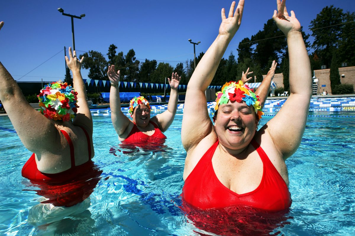 The Padded Lilies are a Bay Area group of fat women who perform synchronized swimming. They have attracted more national attention than any other San Francisco based fat performance group. Their shows are consistent crowd pleasers. They teach body-acceptance and fat-empowerment. They believe that everyone can exercise regardless of size.