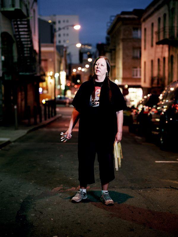 Donna Saffiati, needle exchange outreach worker, photographed on Hemlock Alley.