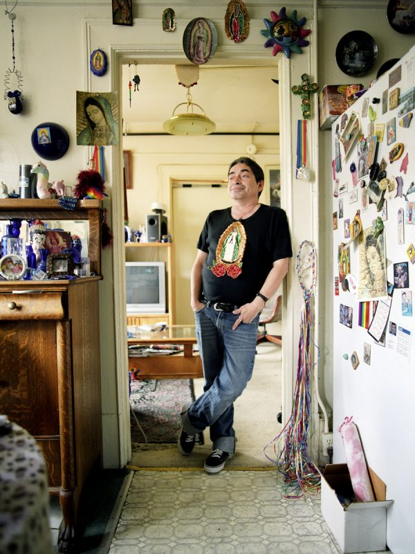 Anthony Cabello photographed in his apartment at the Palo Alto Hotel on Polk Street.