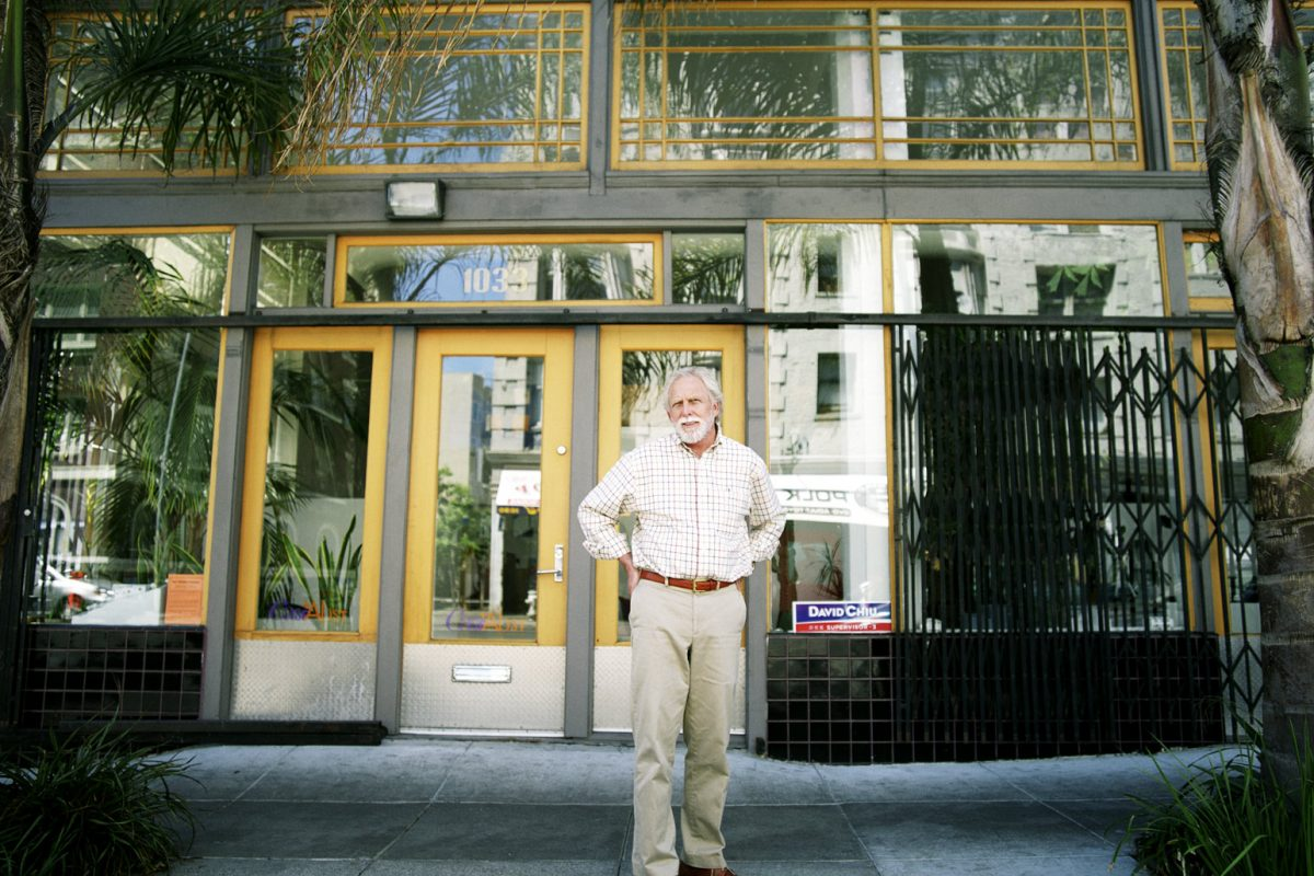 Ron Case photographed outside his architecture firm, Case and Abst. Case is also Chair of the Lower Polk Neighbors.