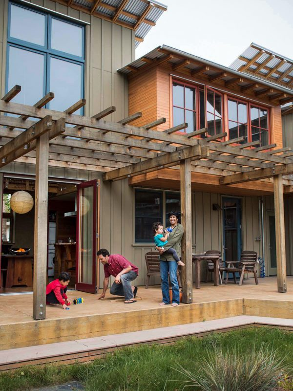 Santa Cruz residents Bernie Tershy and Erika Zavaleta with their family photographed at their home in Santa Cruz . Images to be featured in the October 2012 issue of Dwell magazine's 'Off the Grid' section.