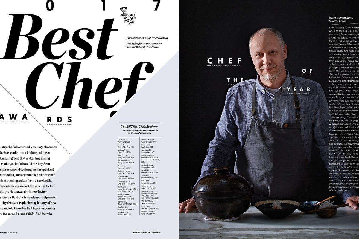 Chef of the Year, Kyle Connaughton, San Francisco Magazine.