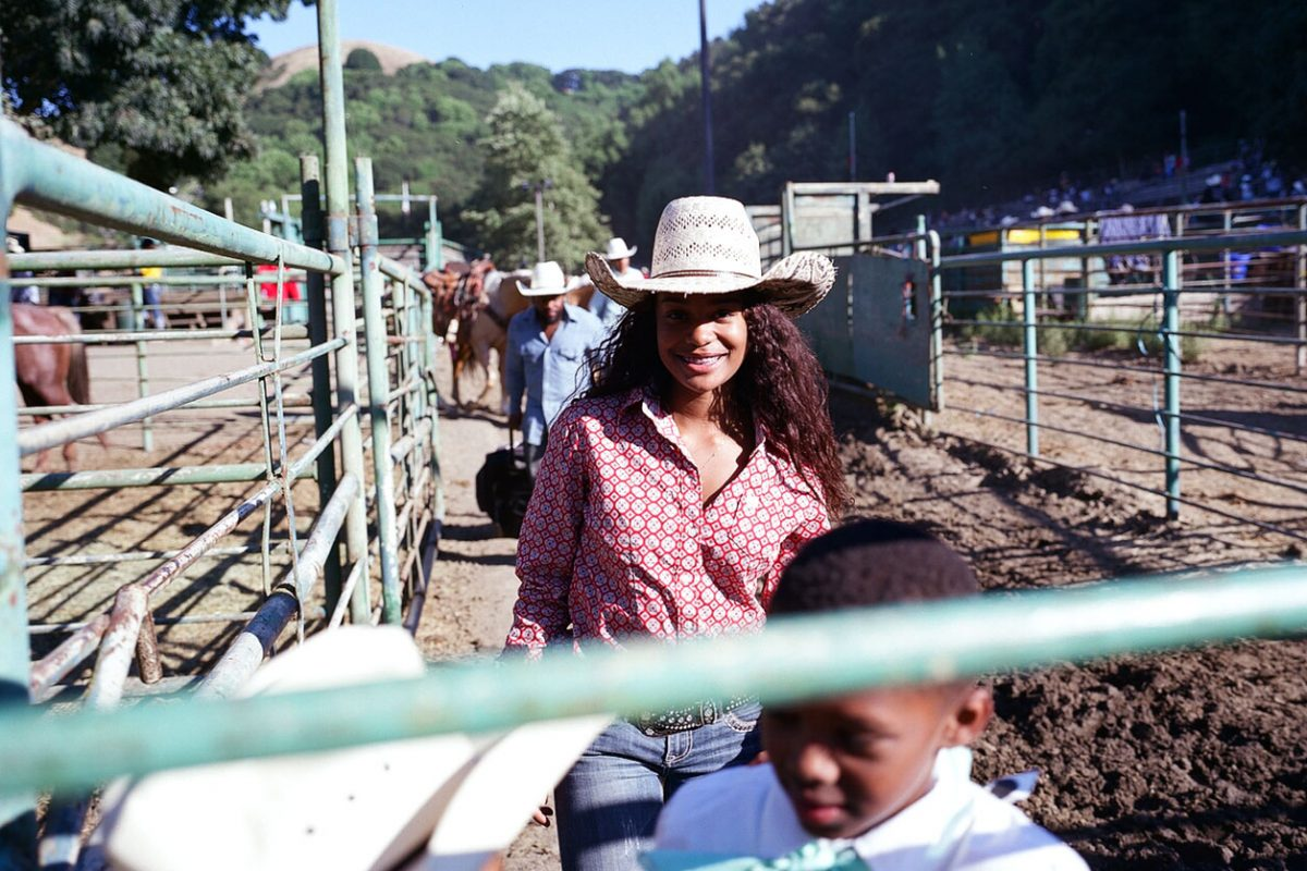 Cowgirl, Nevaeh Owens, at The Bill Pickett Invitational Rodeo in Oakland, California. July 2017.