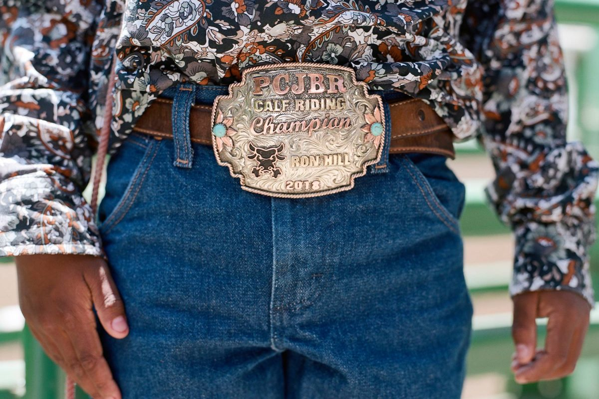 Hayward, California. July 14, 2018. Ronald Hill 3rd, is the 2017 Pacific Coast Junior Bull Riders Champion in the Calf Riding division based in Norco, California.