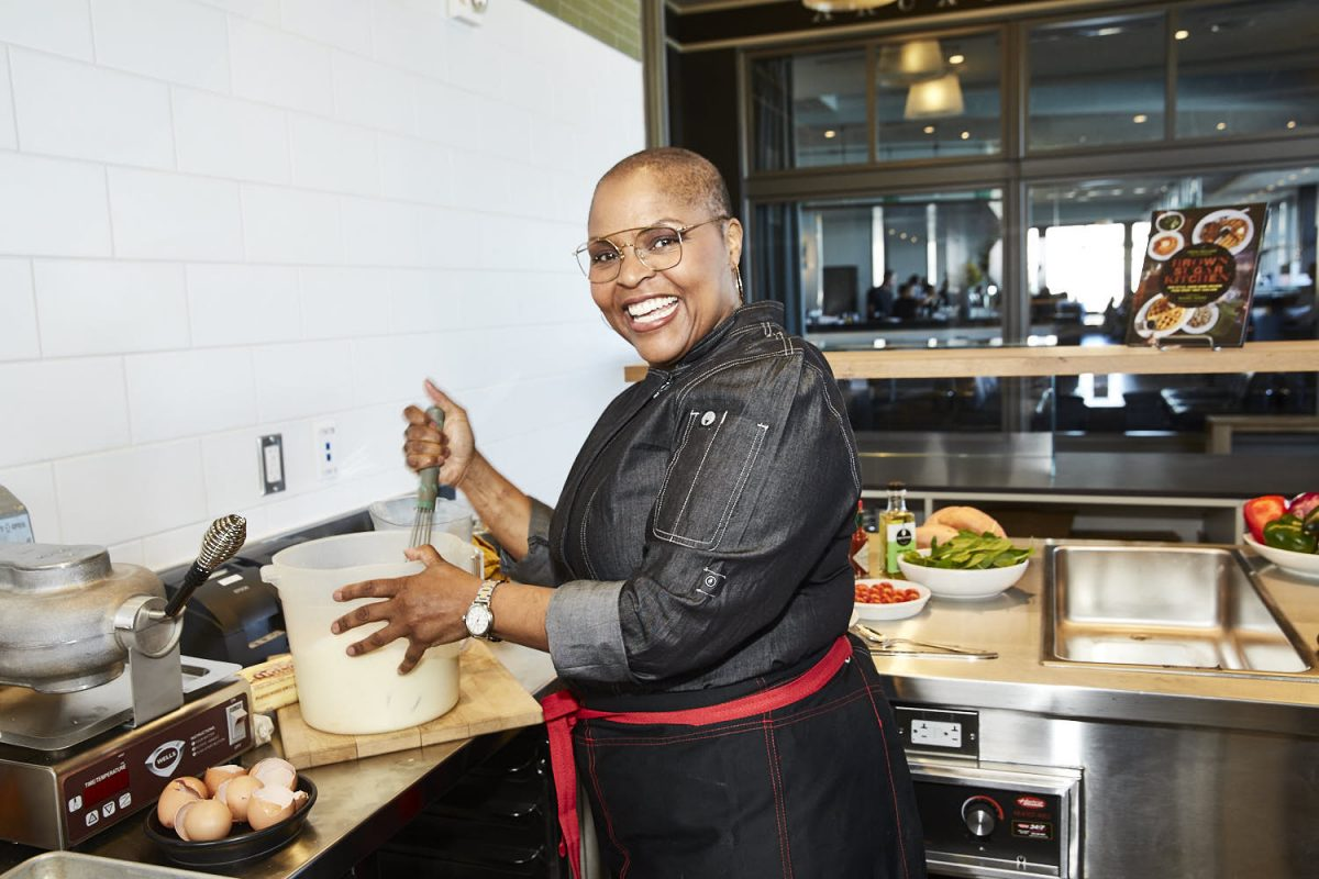 Chef Tanya Holland at her new restaurant in the San Francisco Ferry Building.