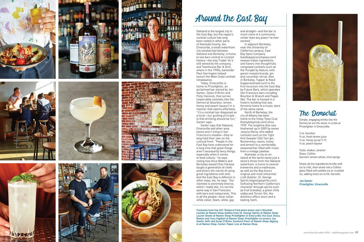 Oakland Bars for IMBIBE magazine Dec 2018 Issue.