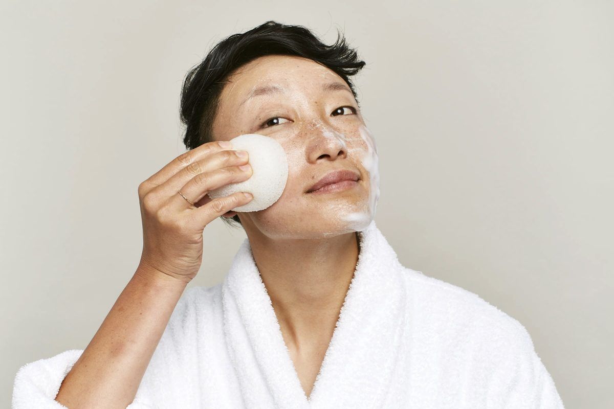Photos of real people taking care of their skin.