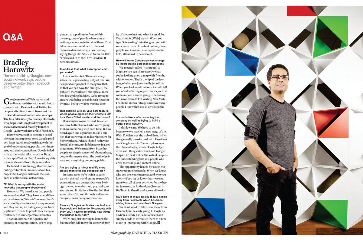 Bradley Horowitz of Google for Bloomberg.
