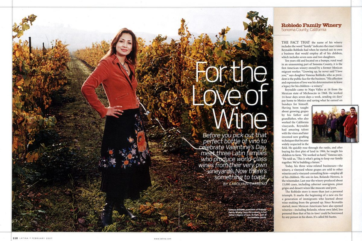 Robledo Family Winery for Latina Mag