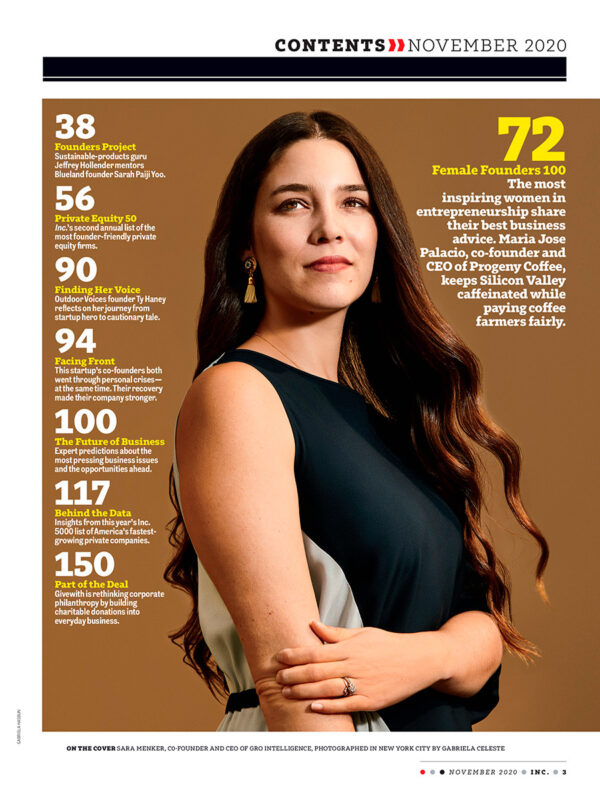 Maria Jose Palacios of Progeny Coffee was named one of the top 100 Female Founders of 2020 by Inc. Magazine.